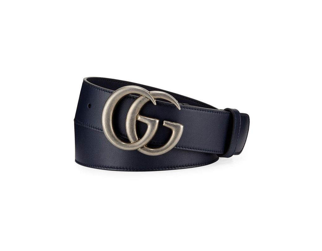 bed99ac494e Lyst - Gucci Men s Running GG Leather Belt in Blue for Men