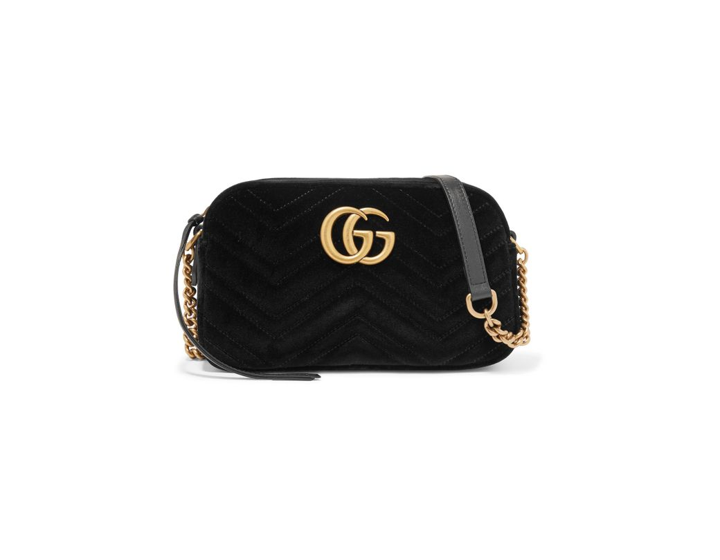 3465fe5d6dc12 Gucci. Women s Black Gg Marmont Small Leather-trimmed Quilted Velvet Shoulder  Bag