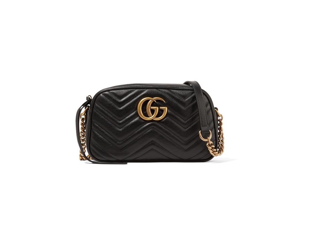 eff4590619e9 Gucci. Women's Black Gg Marmont Camera Small Quilted Leather Shoulder Bag