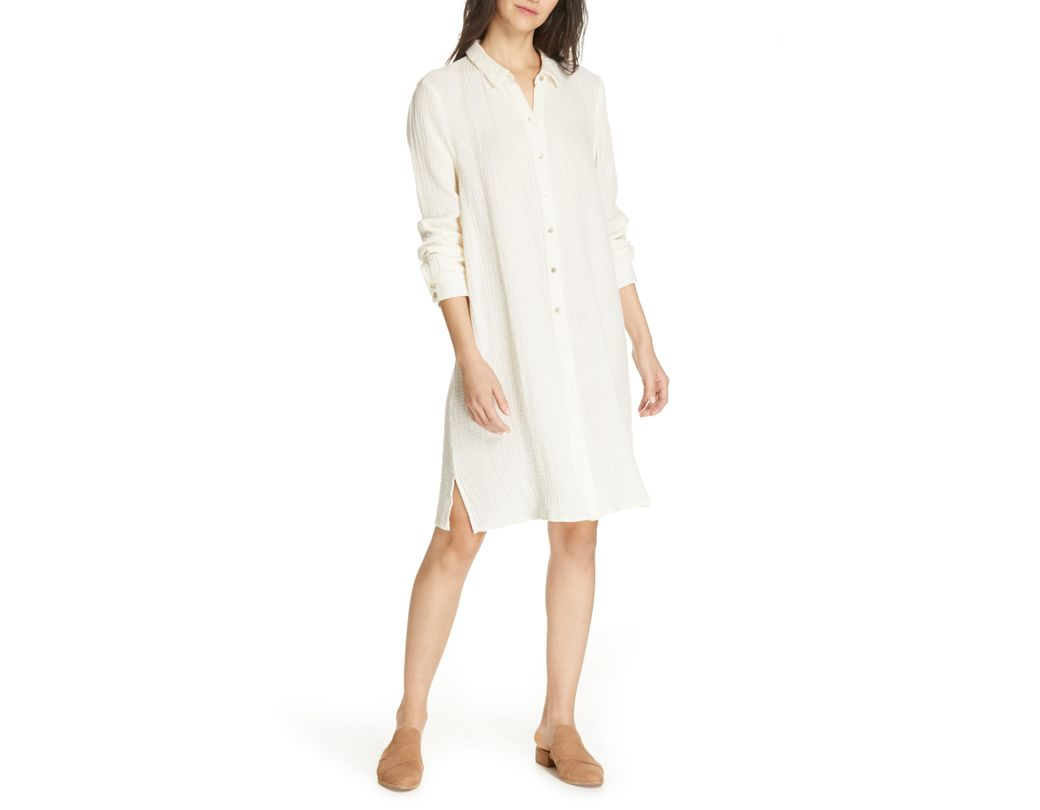 3ea002179944 Lyst - Eileen Fisher Classic Crinkle Organic Cotton Shirtdress in White
