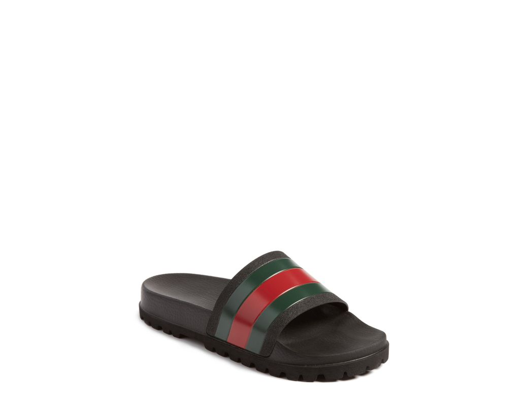 64b170c77db Lyst - Gucci Striped Rubber Slides in Black for Men - Save 24%