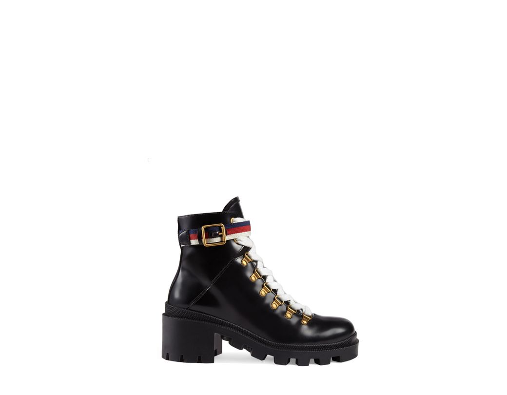 bde5b1aef88 Lyst - Gucci Leather Ankle Boot With Sylvie Web in Black - Save 3%