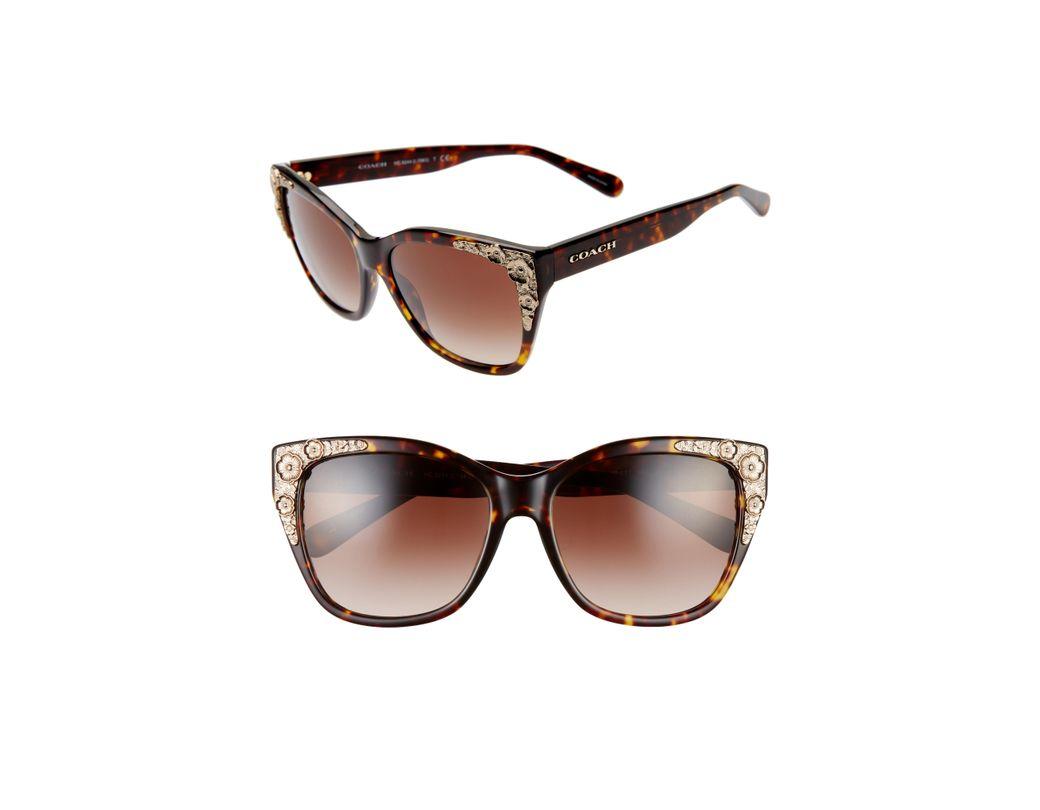 bd0a6af4e2 Lyst - COACH 56mm Cat Eye Sunglasses - Dark Tortoise  Brown Gradient ...