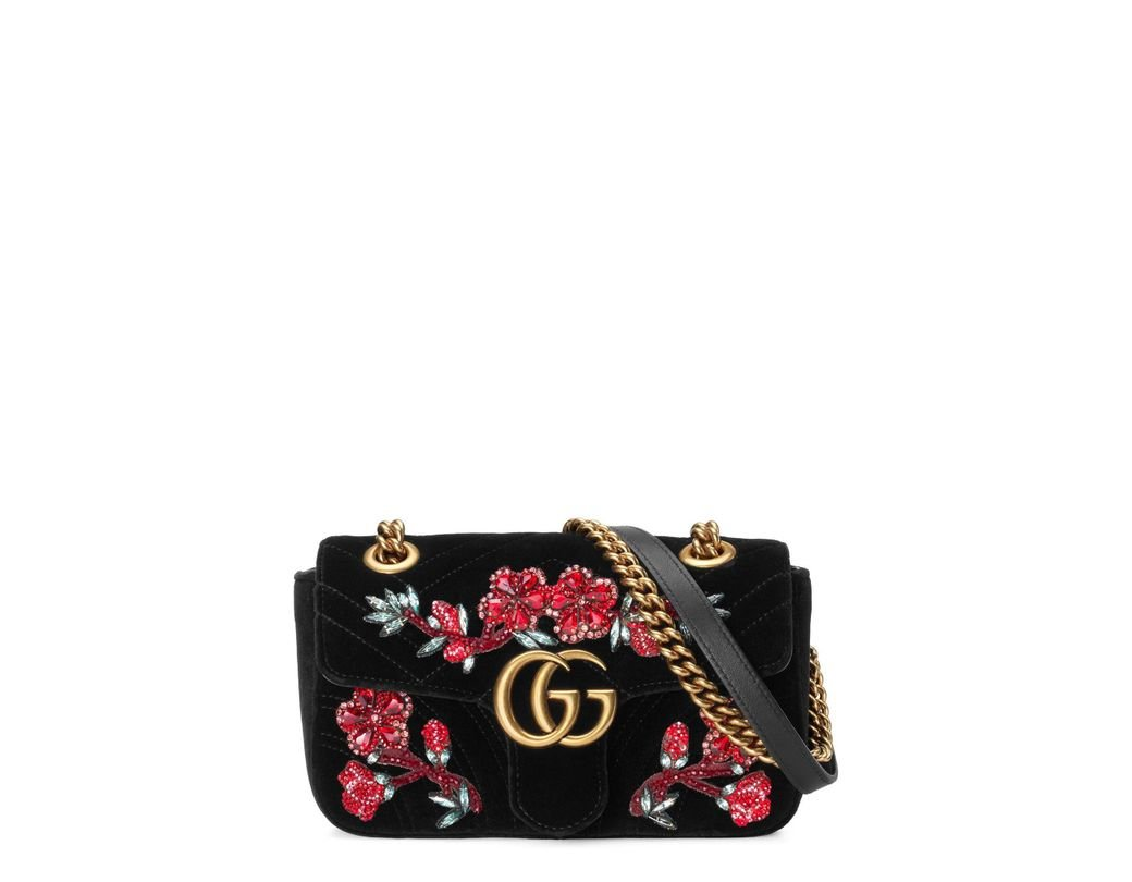 755ad801852 Long-Touch to Zoom. Long-Touch to Zoom. 1  2. Gucci - Red Mini Gg Marmont  Matelassé Velvet Shoulder Bag ...