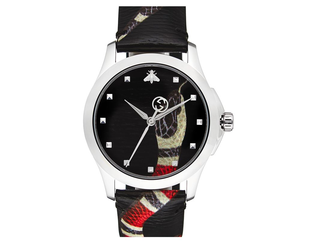 472fea2189739 Long-Touch to Zoom. Long-Touch to Zoom. 1  2. Gucci - Black Snake Insignia Leather  Strap Watch - Lyst ...