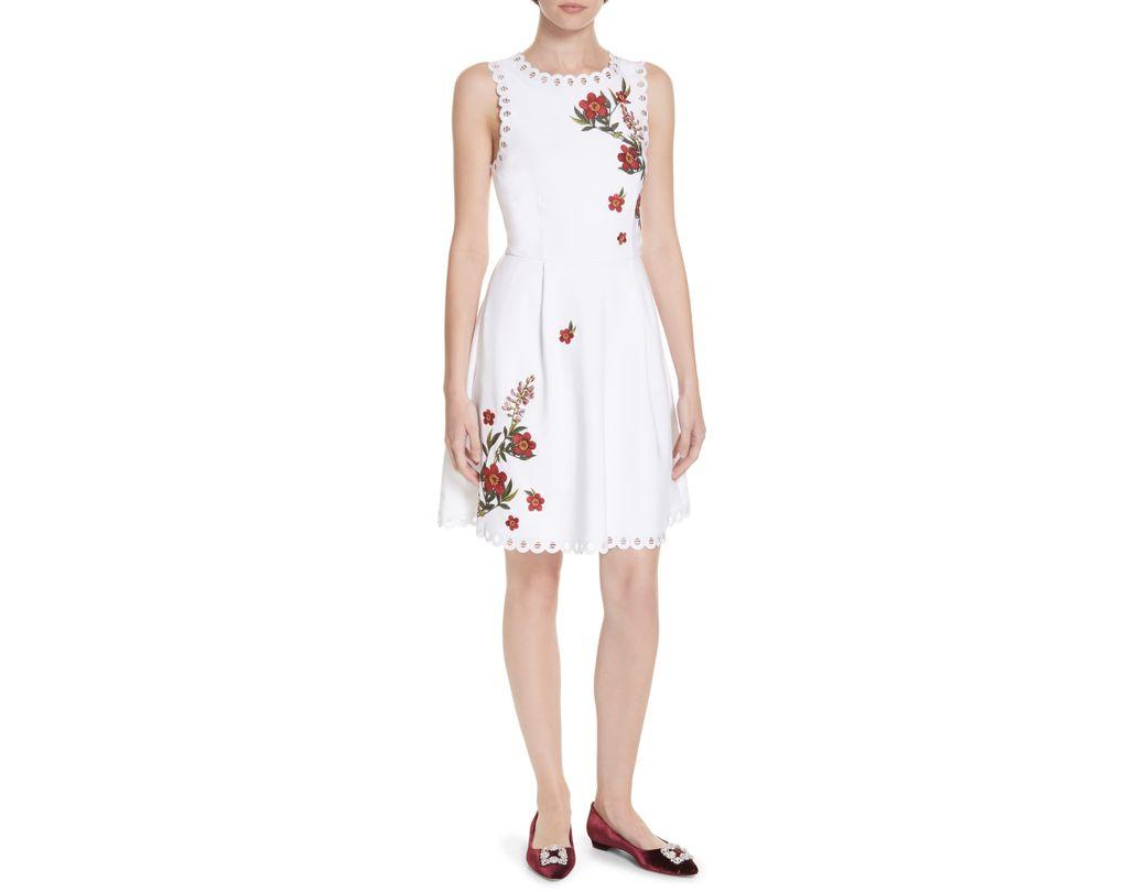 0d8aefd5e02 Lyst - Ted Baker Kristil Kirstenbosch Skater Dress in White