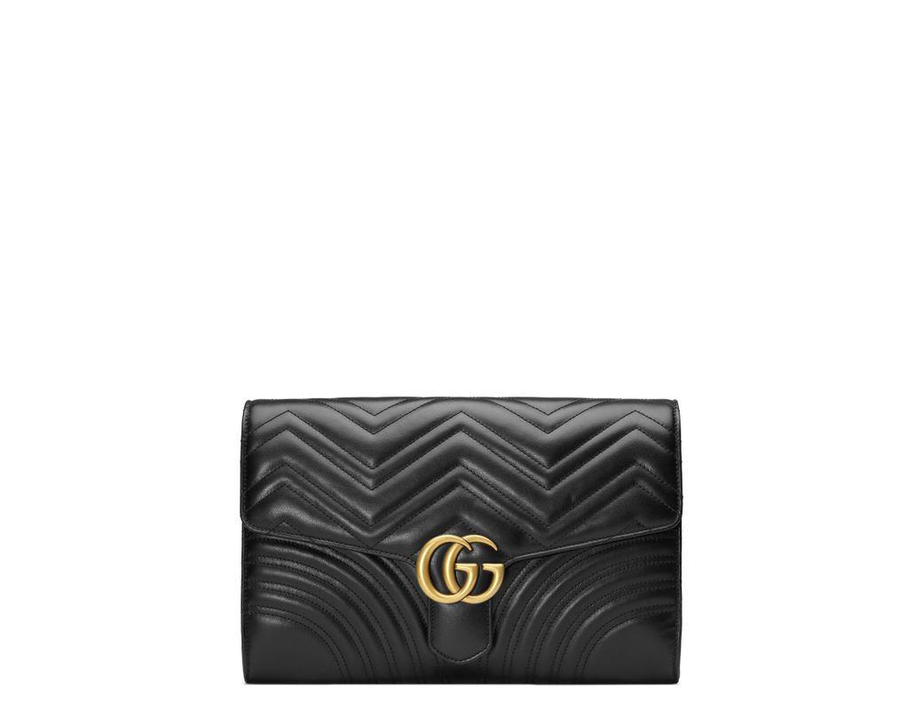 e8c7e18ec Lyst - Gucci Gg Marmont 2.0 Matelassé Leather Clutch in Black