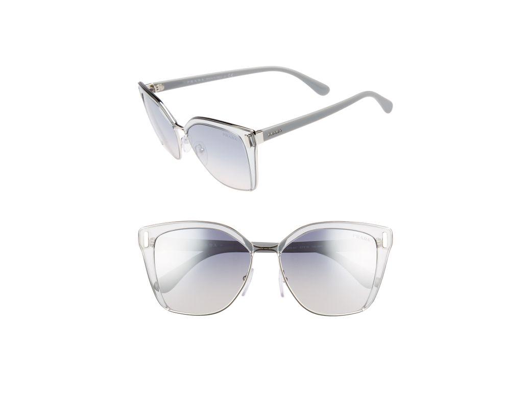 5b7d4932fe782 Lyst - Prada 54mm Gradient Geometric Sunglasses -