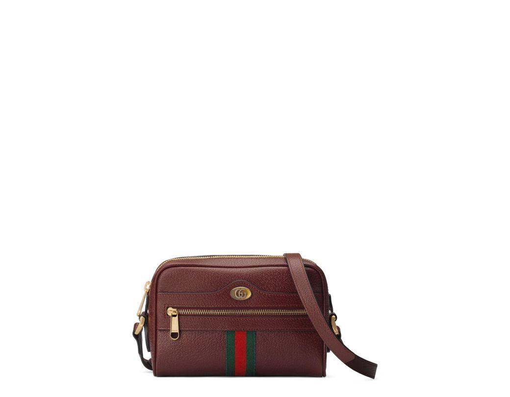 e3fd3e2e5d7 Lyst - Gucci Mini Ophidia Mini Leather Crossbody Bag - Burgundy in Red