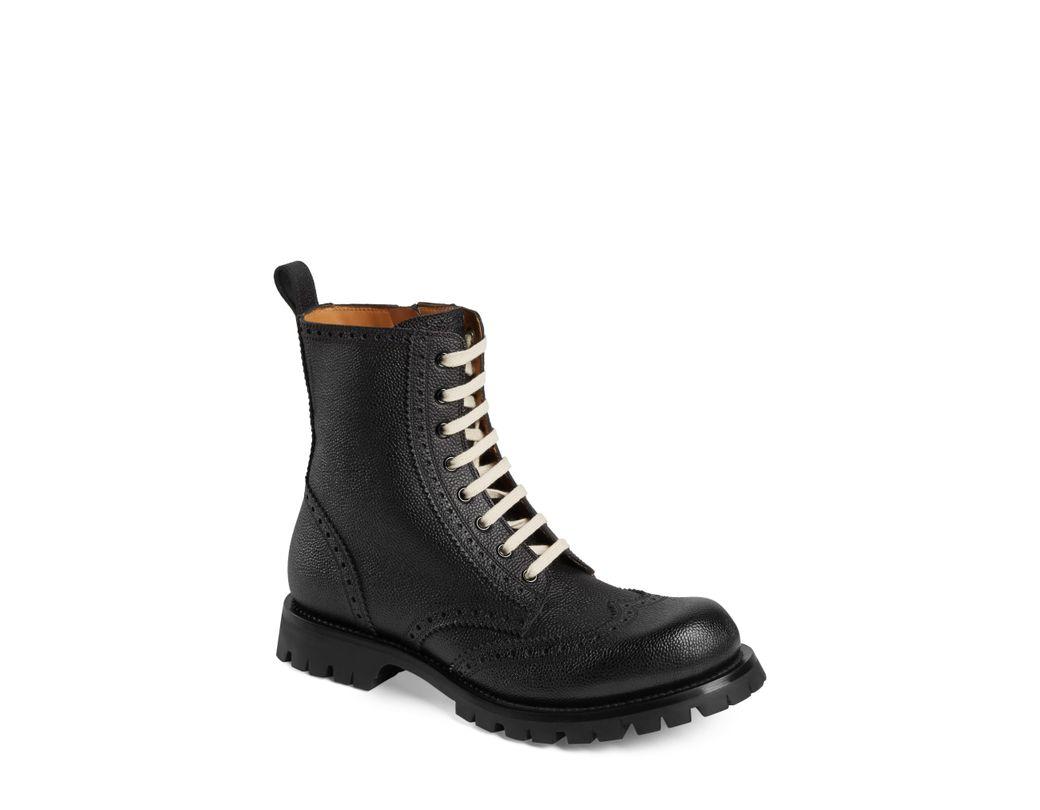 f402153ad0e Lyst - Gucci Brogue Boot in Black for Men