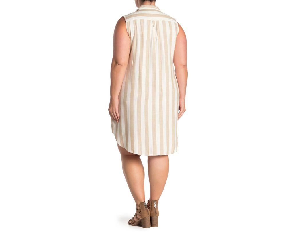 5480fe58d Sharagano Striped Sleeveless Shirt Dress (plus Size) - Lyst