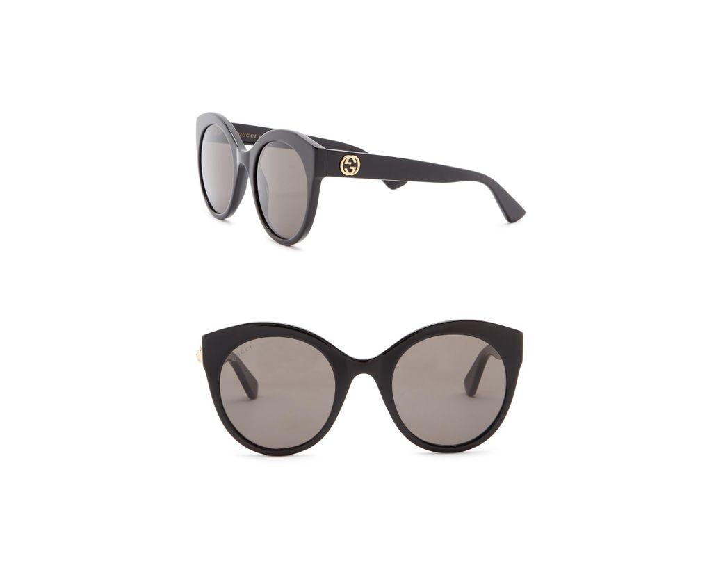 b219ab64fe3 Lyst - Gucci 52mm Round Cat Eye Sunglasses in Black