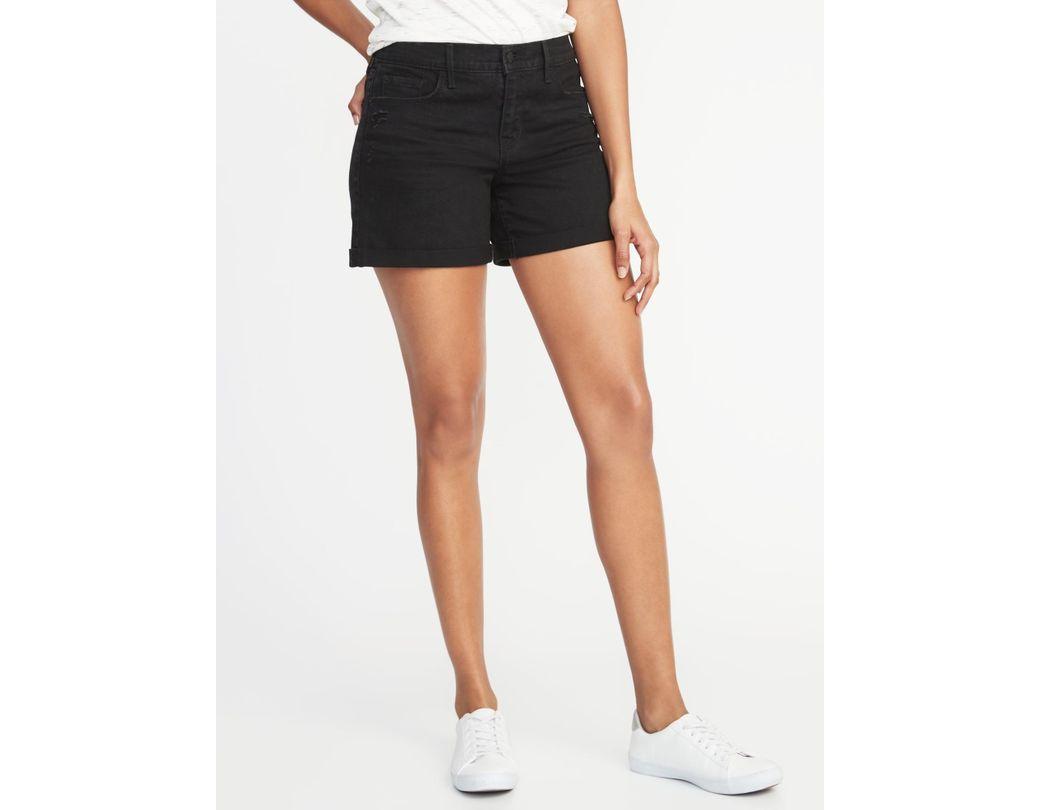 d27a9a4221 Lyst - Old Navy Mid-rise Distressed Black Denim Boyfriend Shorts in ...