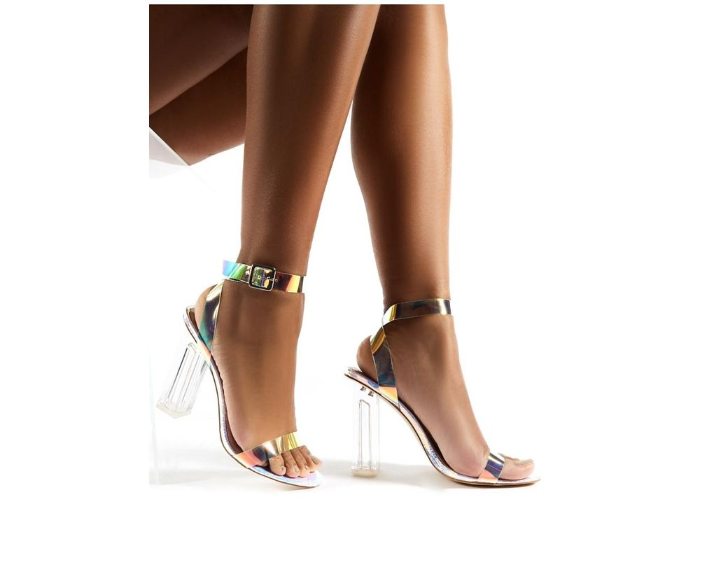 6a3fd039fa3 Women's Alia Strappy Perspex High Heels In Iridescent