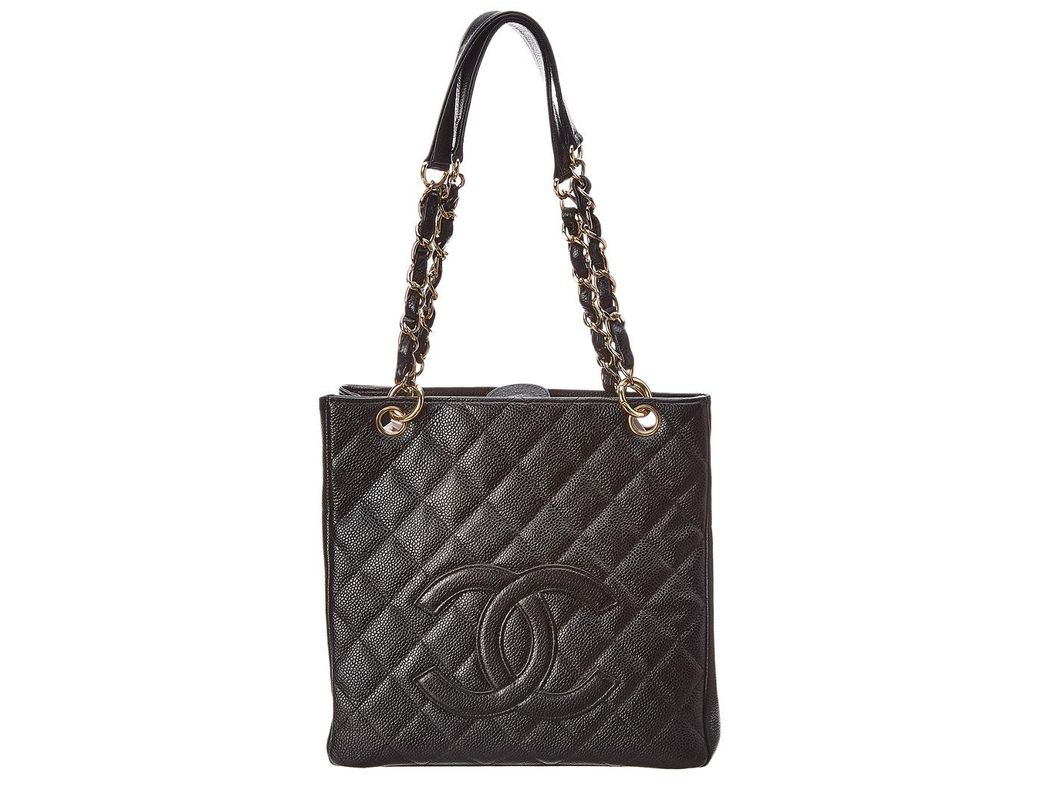 19bd575793cc Lyst - Chanel Black Quilted Caviar Leather Petite Shopping Tote in Black