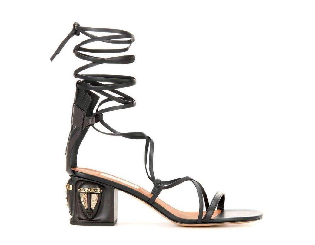 5c67cd5c7c01 Lyst - Valentino Valentino Gladiator Mask Leather Sandals in Black