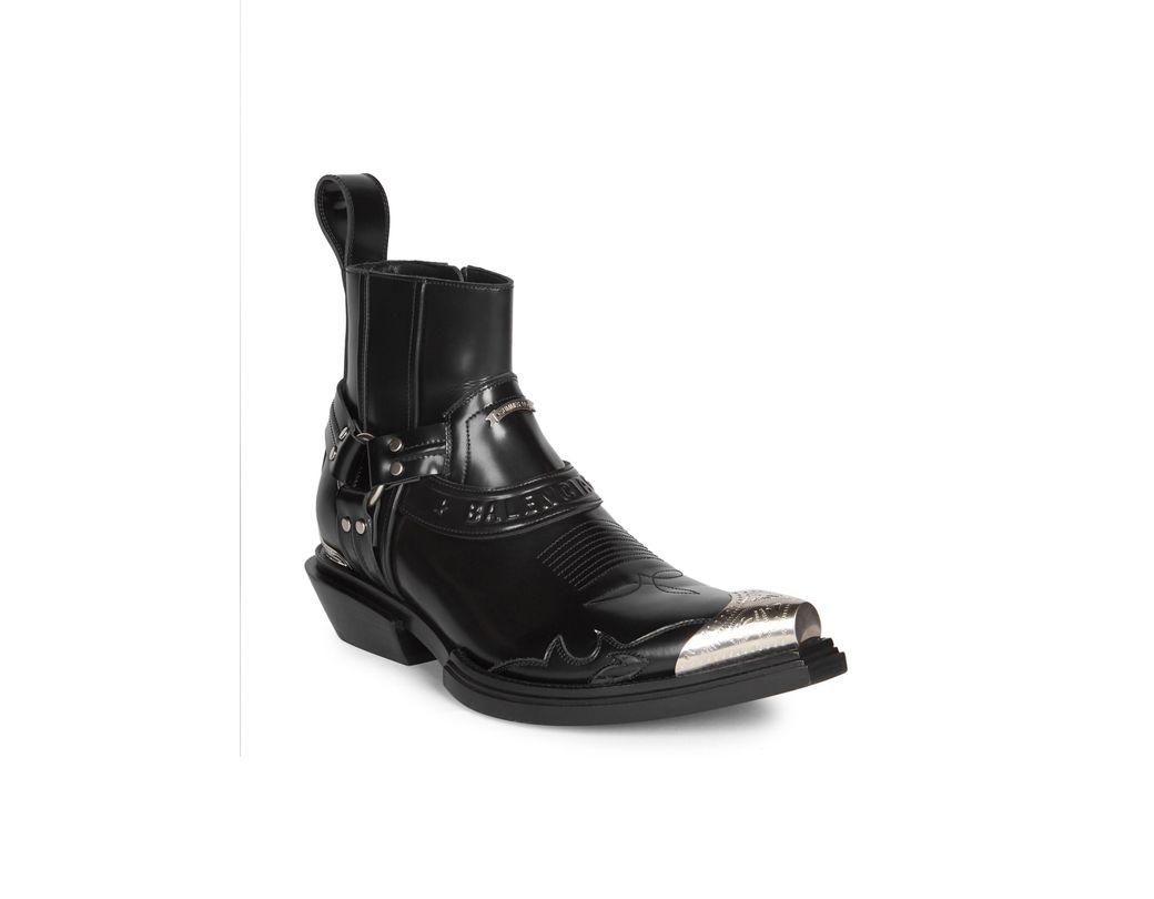 10d37e07501 Men's Black Santiago Leather Western Ankle Boots