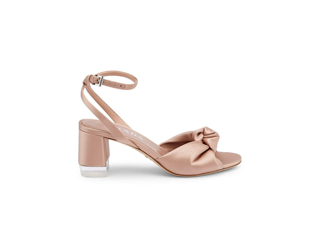 dc18138f1 Lyst - Prada Women s Satin Knotted Ankle-strap Sandals - Black in Pink