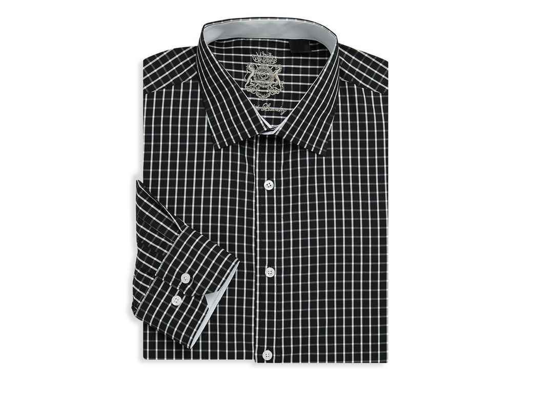 a2275410df Lyst - English Laundry Printed Cotton Dress Shirt in Black for Men