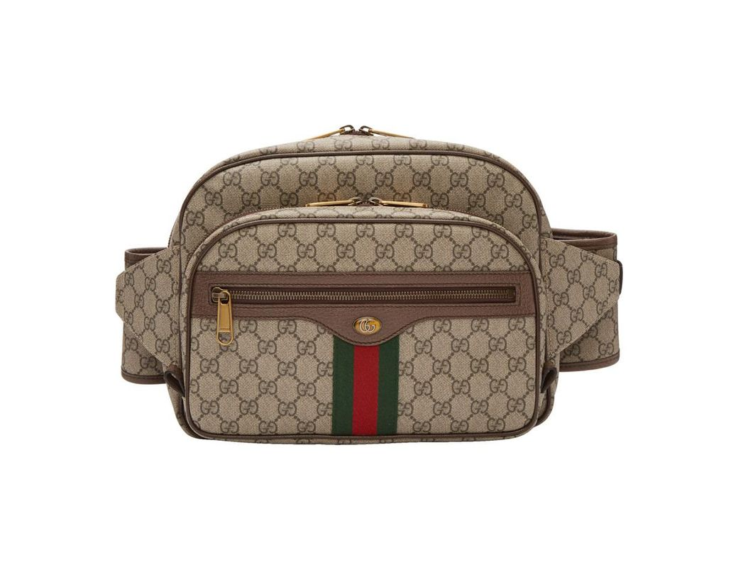 db71517aa48 Gucci Brown GG Supreme Ophidia Belt Bag in Natural for Men - Lyst