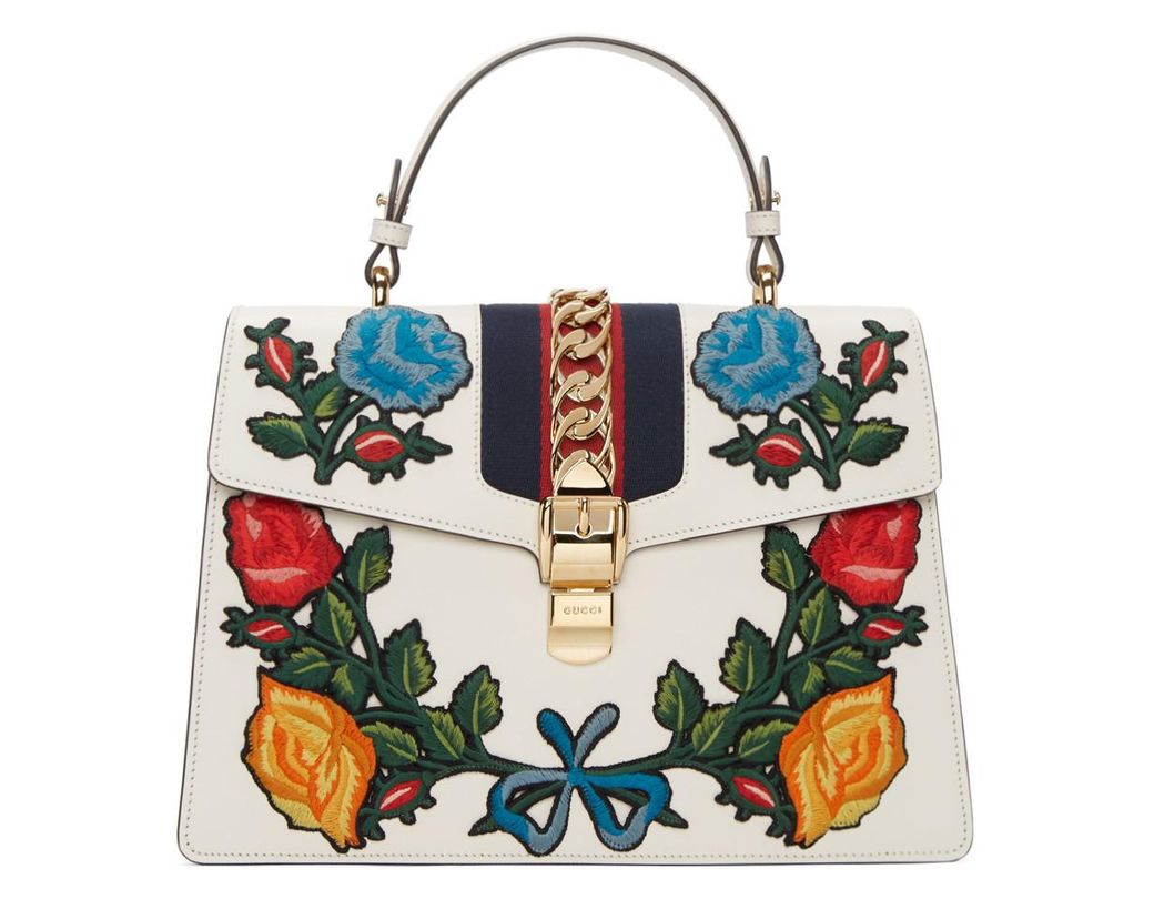 af9482775bd Gucci. Women s White Sylvie Embroidered Leather Top-handle Satchel Bag