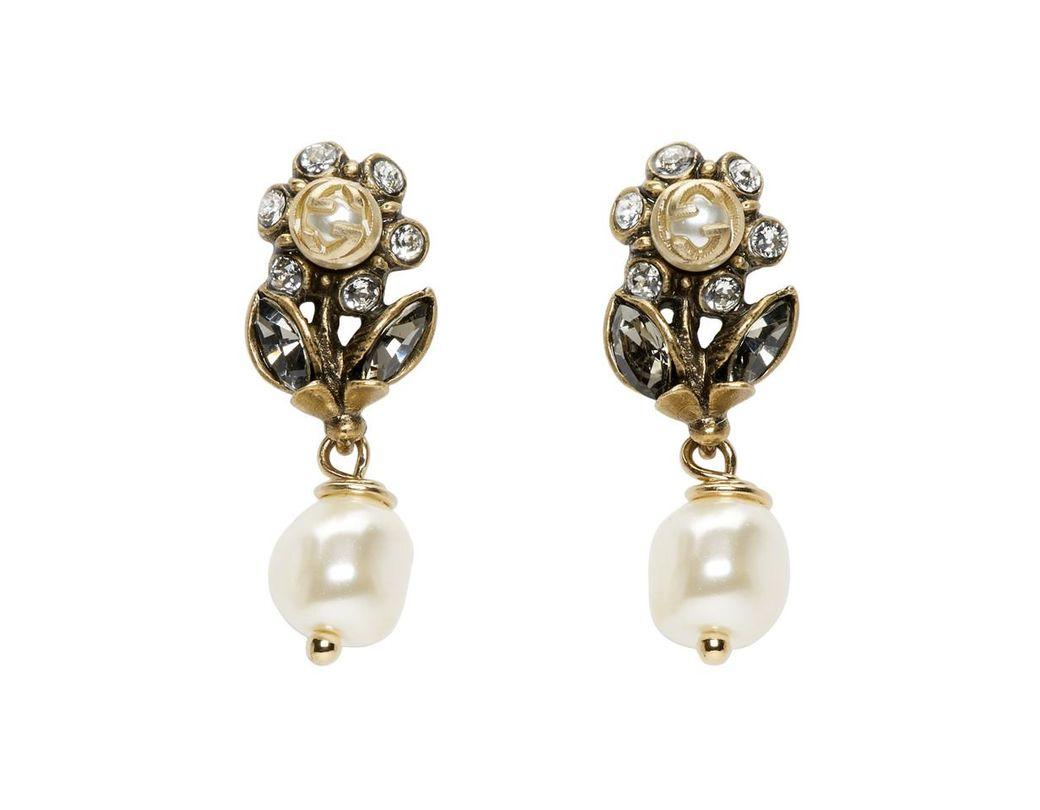 4a0b7d56450 Gucci Gold Flowers Drop Earrings in Metallic - Lyst