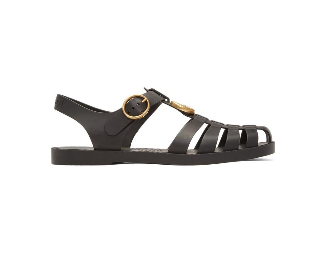 d9cdda3fb9b7 Gucci Rubber Buckle Strap Sandals in Black for Men - Save 9% - Lyst