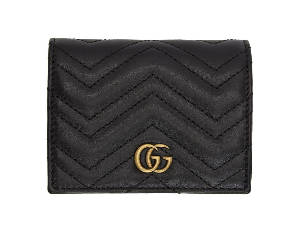 9a3ae1ab727 Lyst - Gucci Black Small GG Marmont Wallet in Black - Save 11%
