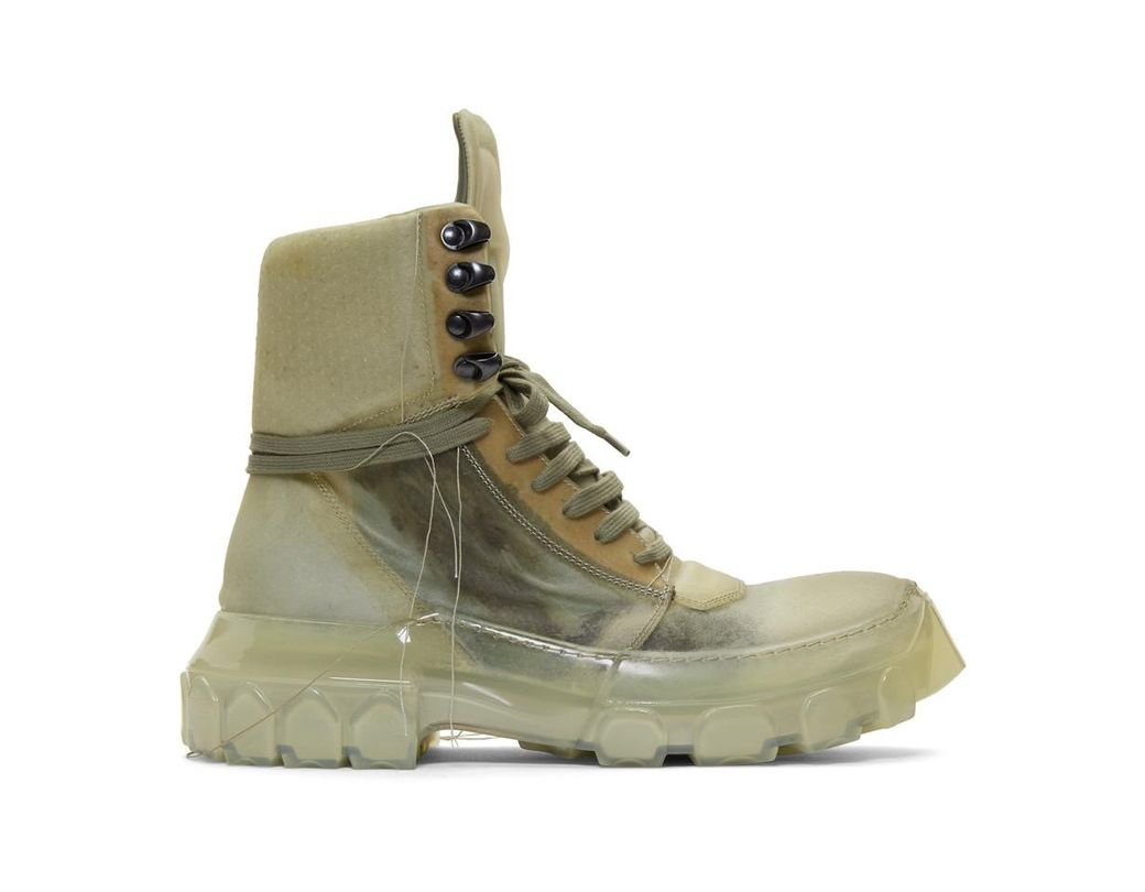 48d036e7f53c Lyst - Rick Owens Green And Transparent Hiking Sneakers in Green for Men