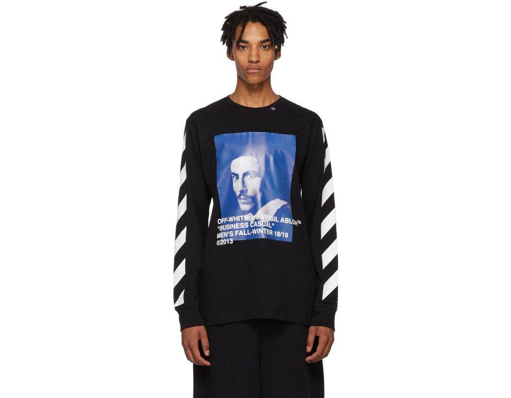 8bc90026 Off-White c/o Virgil Abloh Black Diagonal Bernini Long Sleeve T-shirt in  Black for Men - Save 80% - Lyst