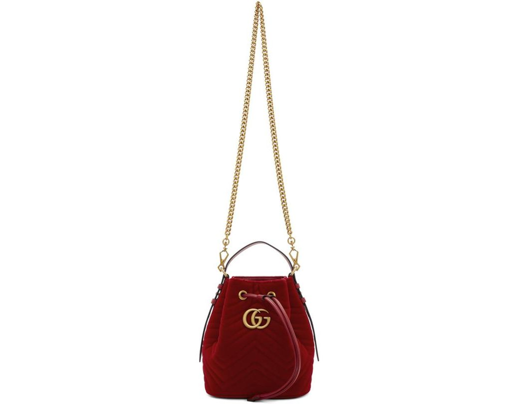 8d8c81d2533 Lyst - Gucci Red Velvet GG Marmont 2.0 Bucket Bag in Red