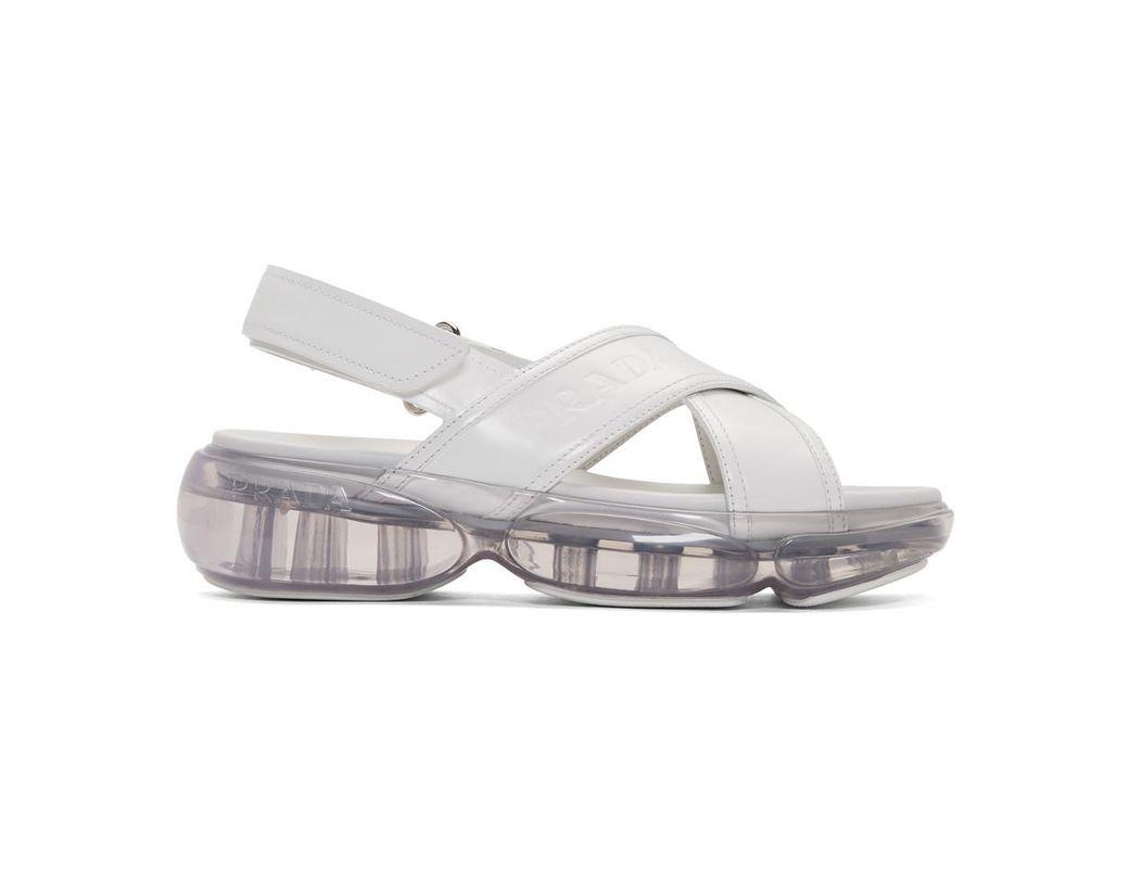 80cabc145061 Lyst - Prada White Cloudbust Criss Cross Sandals in White
