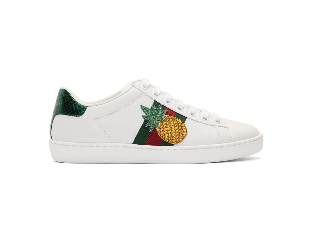 a84eb152dac Lyst - Gucci Pineapple   Ladybug Ace Sneakers in White