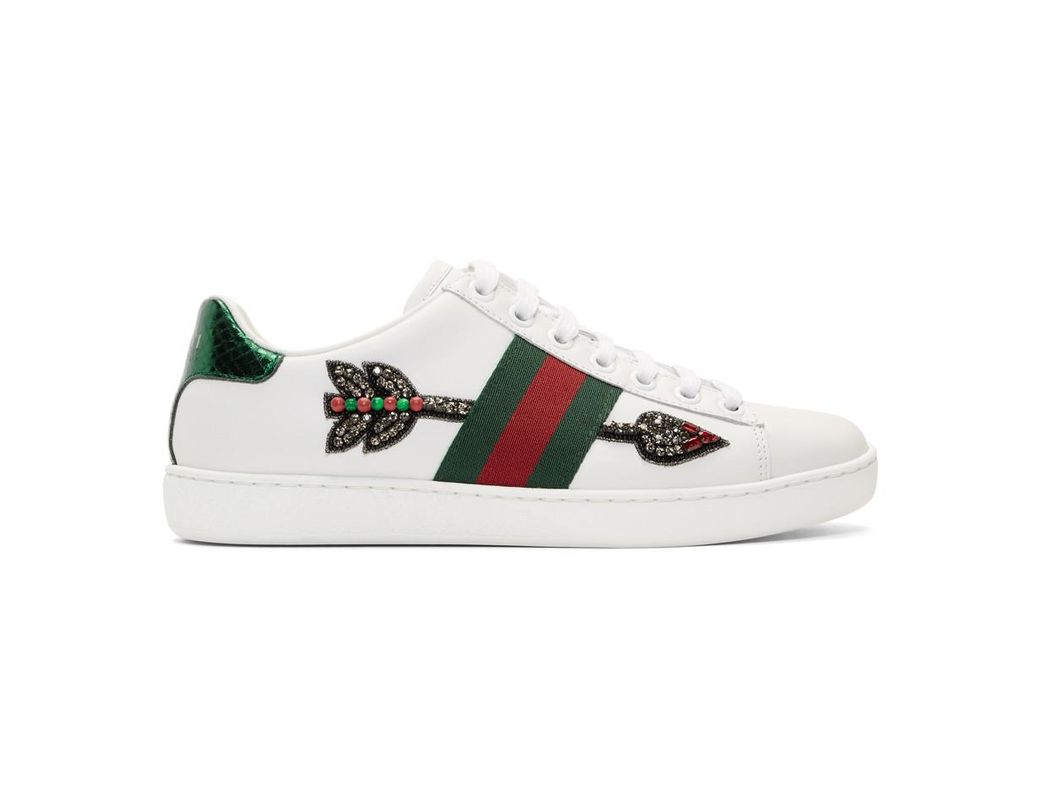 55356bf017a Gucci Ace Arow-embroidered Leather Sneakers in White - Save 12% - Lyst