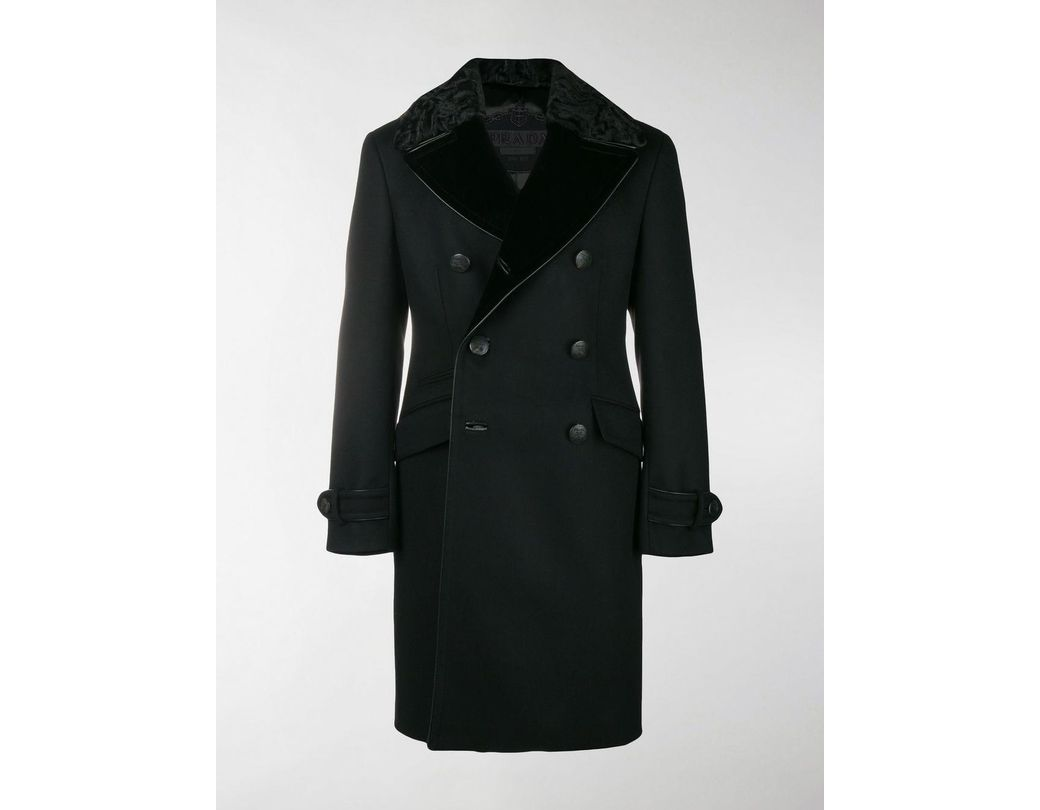 d53b4d3650f7 Lyst - Prada Double Breasted Wool Coat in Black for Men - Save 50%