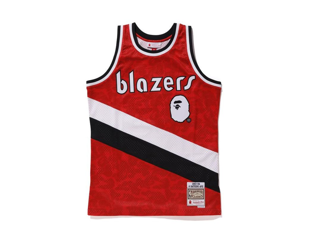 f2ac948941a A Bathing Ape X Mitchell   Ness Blazers Abc Basketball Swingman Jersey  Burgundy in Red for Men - Lyst
