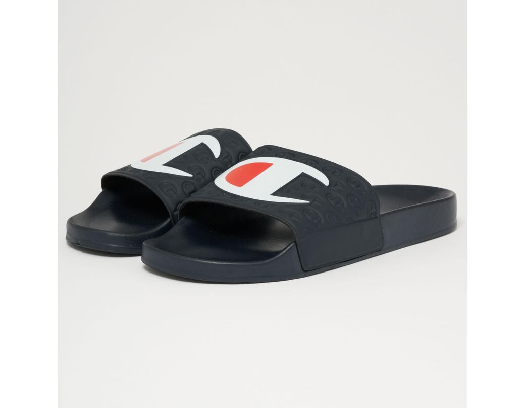 ca173ac47e2d Champion Big Logo Slides - Navy in Blue for Men - Lyst