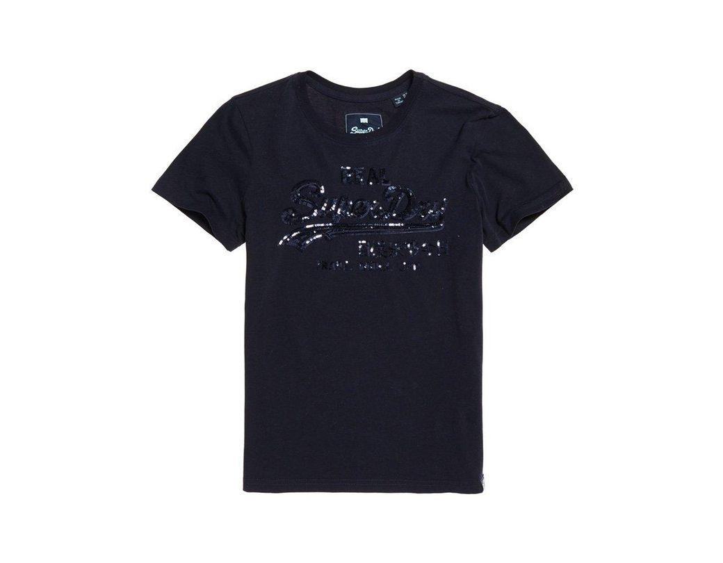 7027692c Superdry Women's Vintage Logo T-shirt in Blue - Lyst
