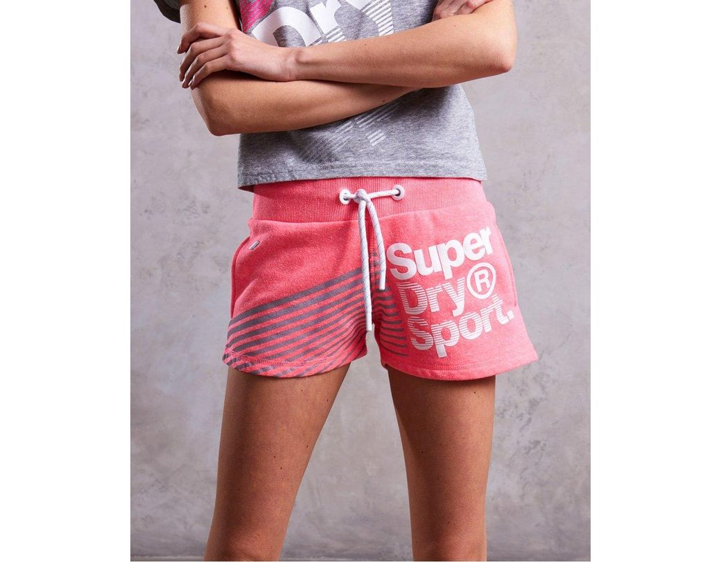 be62c5b2999560 Lyst - Superdry Sport Diagonal Hot Shorts in Pink