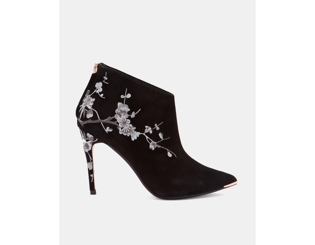 2813c4af0ac Women's Black Embroidered Suede Pointed Ankle Boots