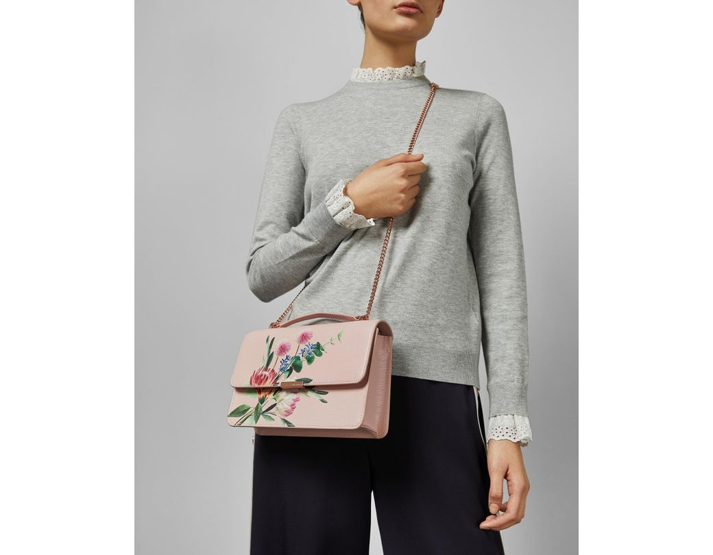 3a77f45d3 Ted Baker Flourish Mini Bark Leather Cross Body Bag in Pink - Lyst