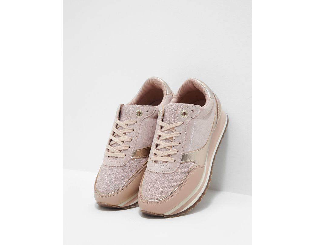 292130a9e307 Tommy Hilfiger Metallic Retro Trainers Pink in Pink - Lyst