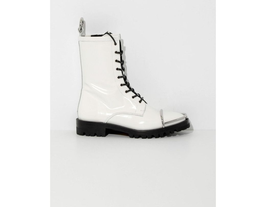 31d3eb546c4d Alexander Wang. Women s White Kennah Lace-up Glossed-leather Ankle Boots