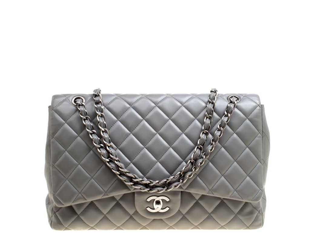 81ecdb805bfa Chanel Grey Quilted Leather Maxi Classic Single Flap Bag in Gray - Lyst