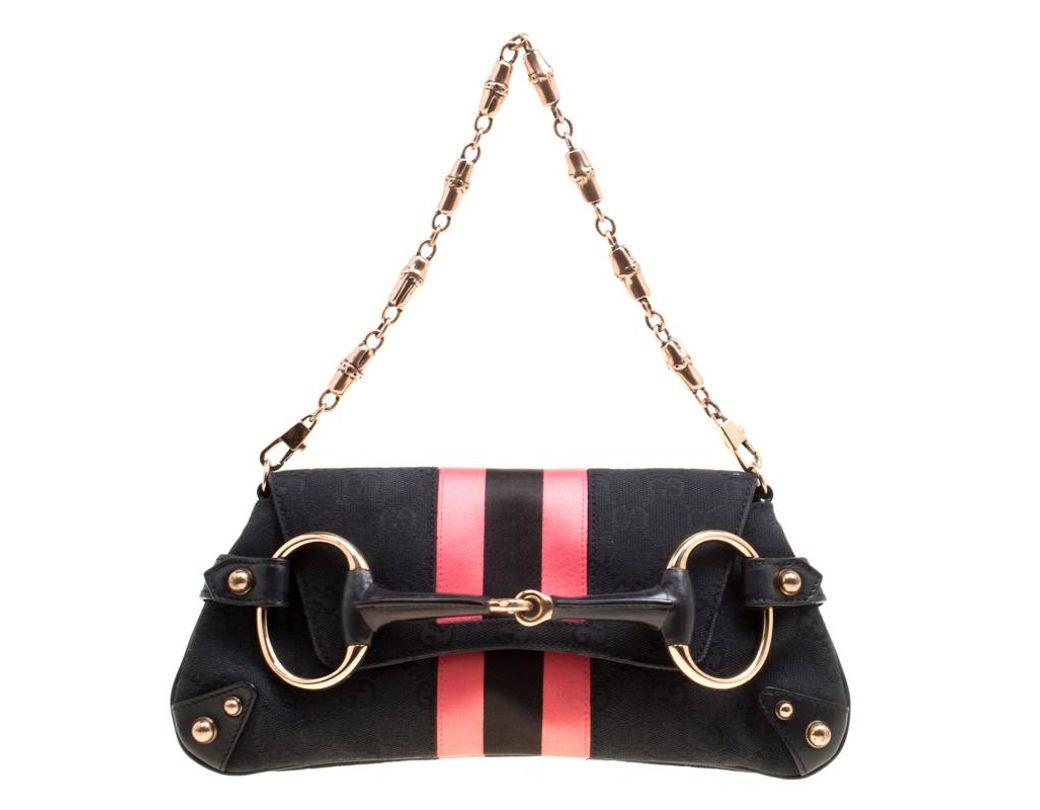 e8c4a8e5f22 Lyst - Gucci Black pink GG Canvas And Satin Small Limited Edition ...