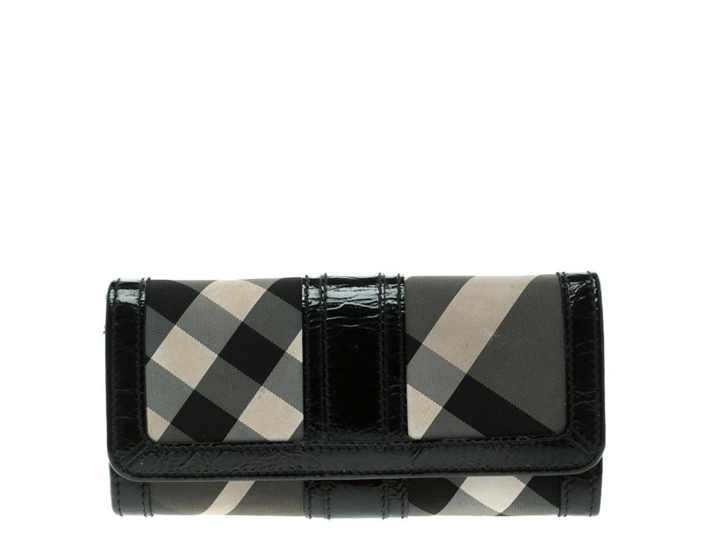 f337443696d3 Burberry Beat Check Nylon And Patent Leather Penrose Continental ...