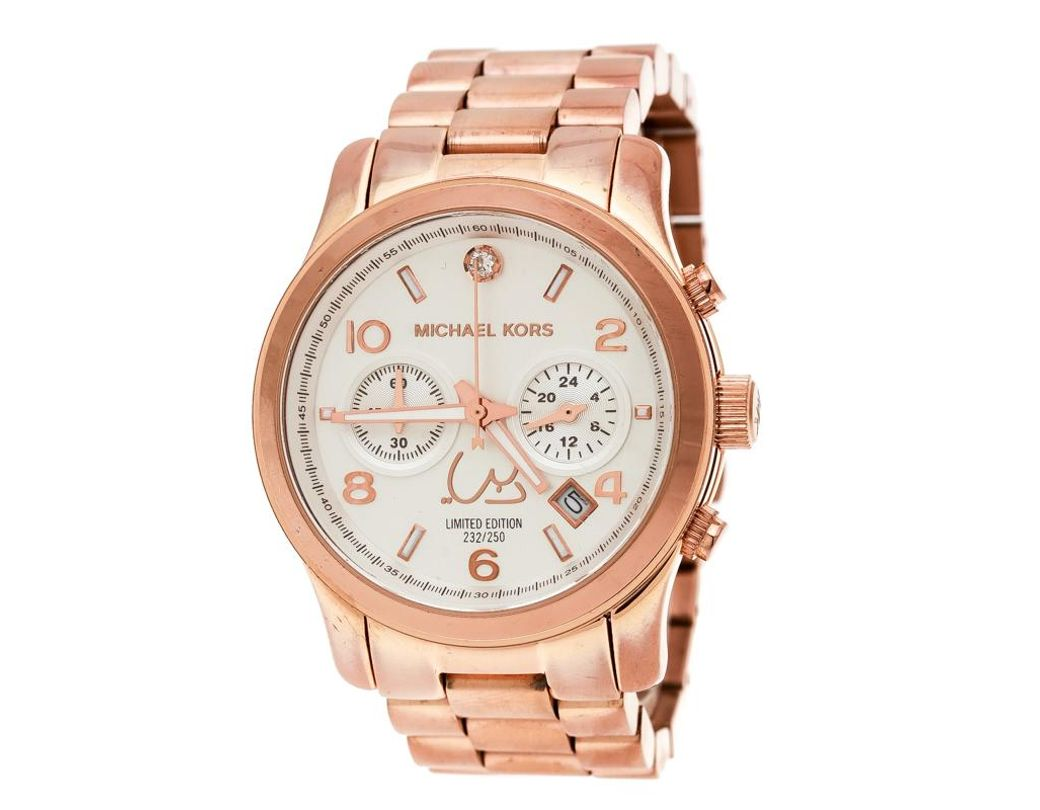 299ca6ba08b4 Michael Kors Silver White Dial Rose Gold Limited Edition Dubai ...