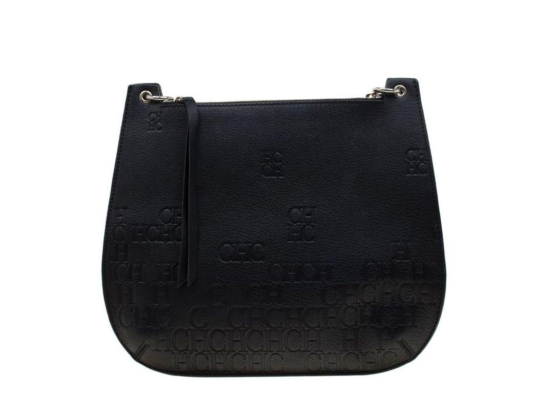 918e31c8bbe96 Lyst - Carolina Herrera Black Leather Castanuela Messenger Bag in Black