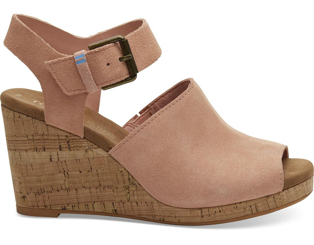 a21a396c0258 Lyst - TOMS Coral Pink Suede Women s Tropez Wedges in Pink