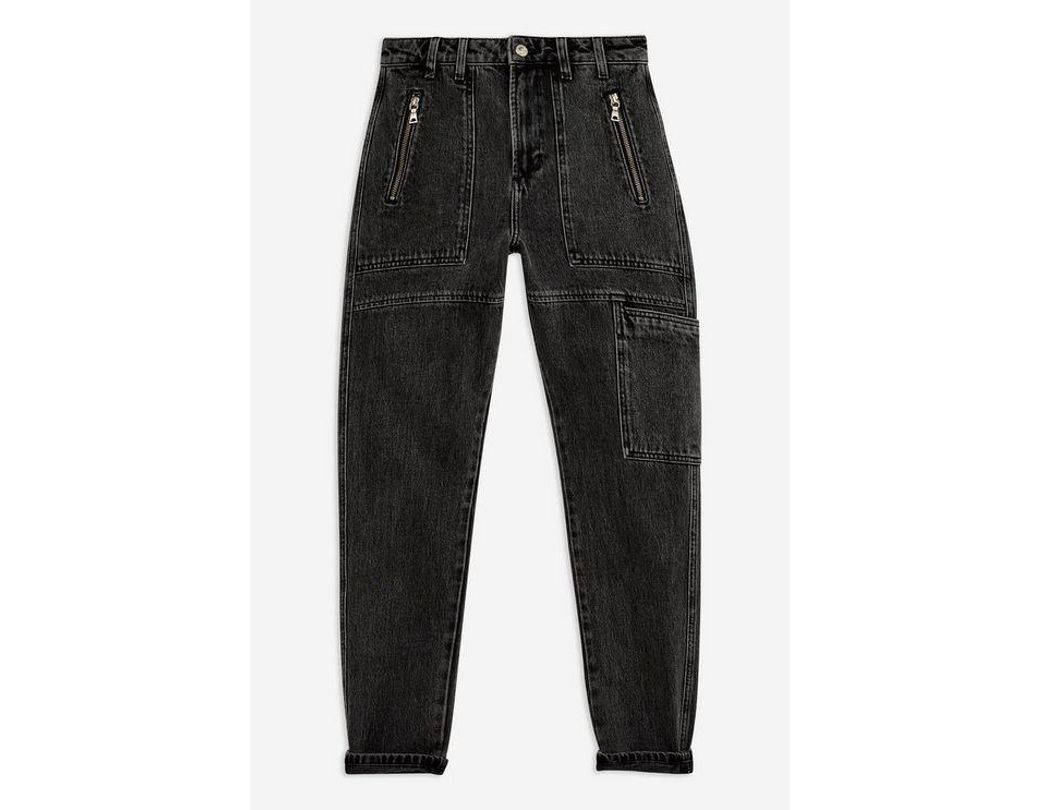 2d3067d594aa8d TOPSHOP Ashed Black Worker Mom Jeans in Black - Lyst
